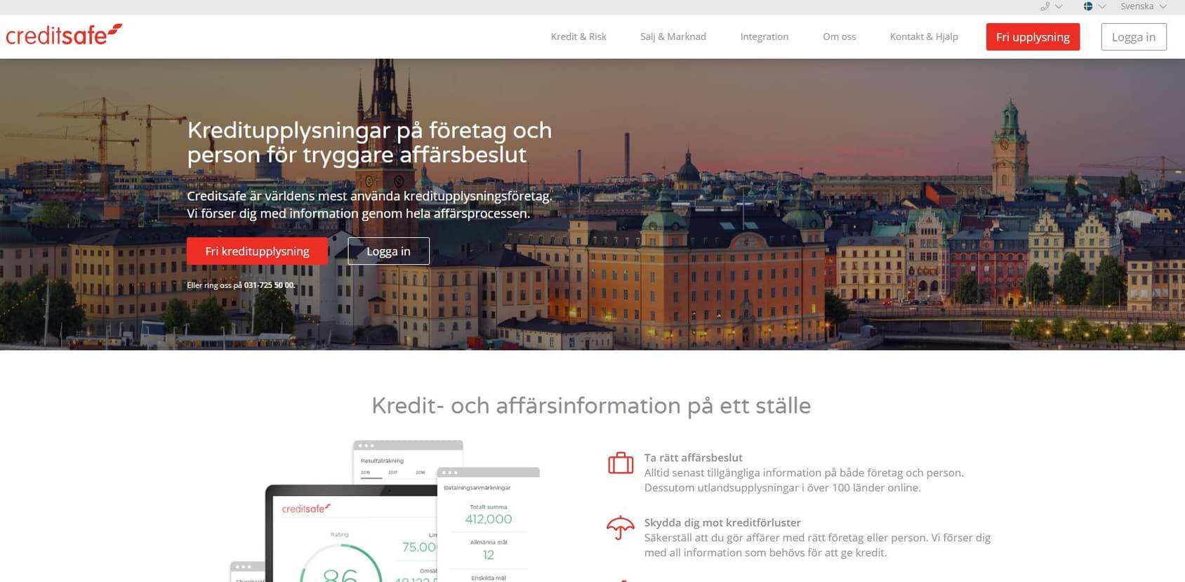 Screenshot hemsida Creditsafe